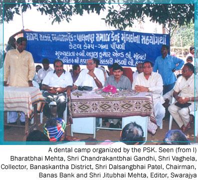 Sitting from left . Shri Bharatbhai Mehta  Shri Chandrakantbhai Gandhi - Shri Vaghela  (Collector – Banaskantha ) Shri  Dalsangbhai Patel (Chairman – Banas Bank ) Shri Jitubhai Mehta (Editor – Swarajya – Weekely  )