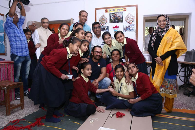 With students of Vidyamandir during campus visit